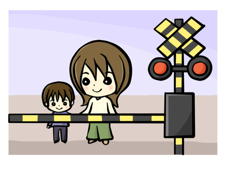 Parent and child waiting for railroad crossing
