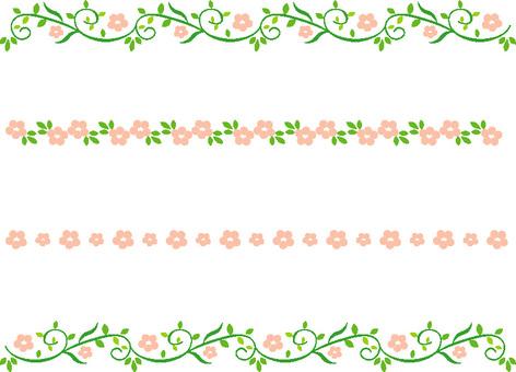 잎의 장식 라인 핑크 작은 꽃