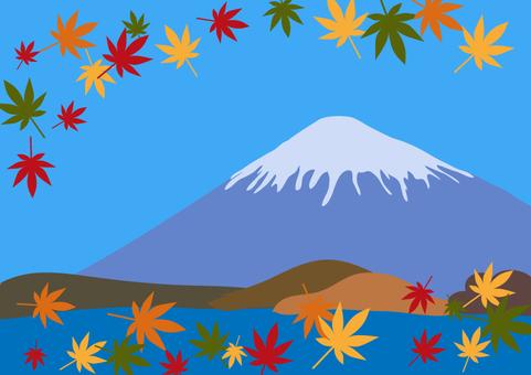 Fuji and autumn leaves illustration 4