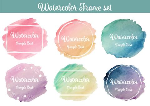 Hand drawn watercolor frame set