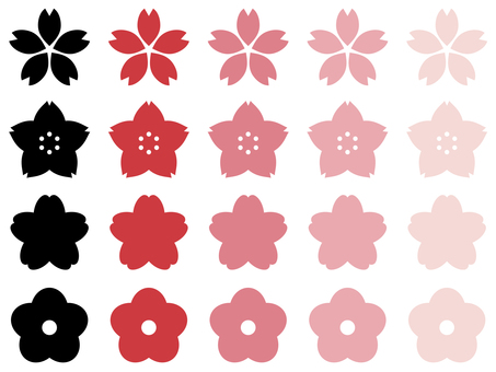 Cherry blossom icon set of various shapes and colors