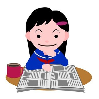 A girl reading a newspaper