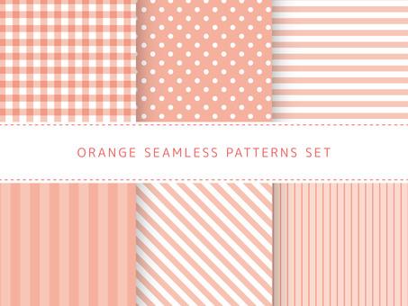 Orange seamless pattern set