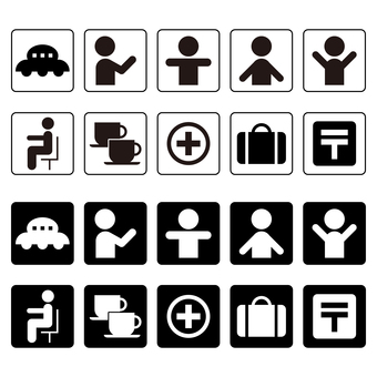 Icon set of people, attache case etc