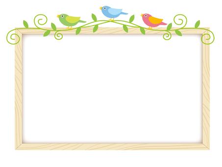 The wood grain frame of the little birds