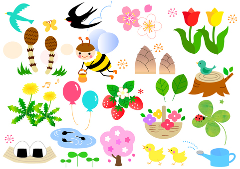 An assortment of spring illustrations