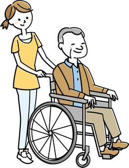 Senior male in wheelchair