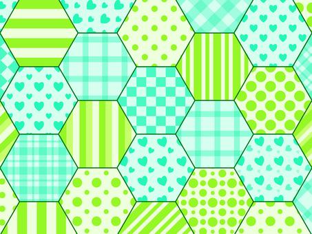 육각 패치 워크 청록색 × 연두색