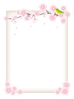 櫻桃樹枝和小鳥的框架