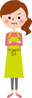 Angry apron woman