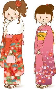 Girls with kimono