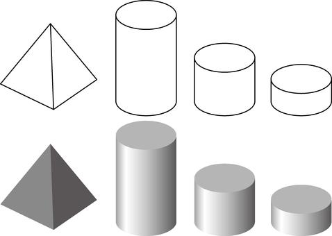 四角金字塔和圓柱