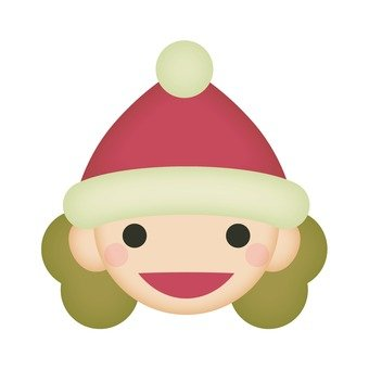 A girl wearing a Santa cap