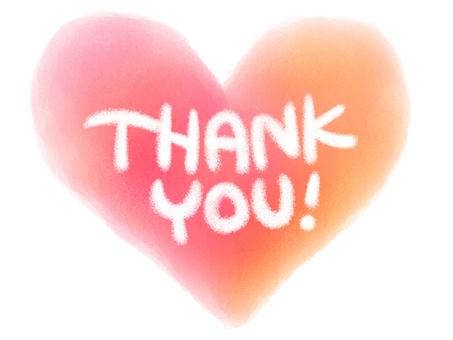 THANK YOU watercolor heart & chalk