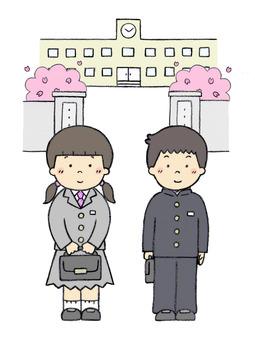 入學儀式(在初中生和學校門口)