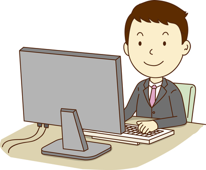 A businessman operating a personal computer