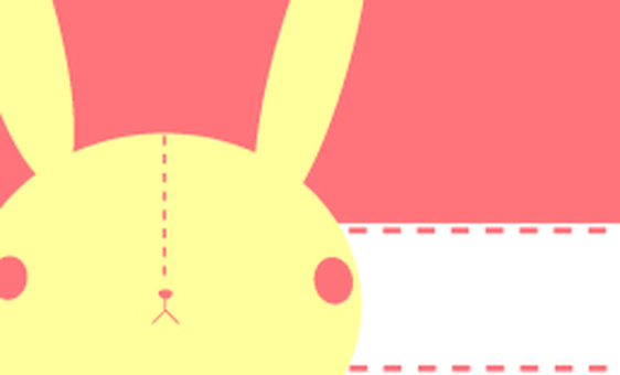 Simple rabbit business card, message card