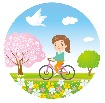 Cycling while watching the cherry blossoms