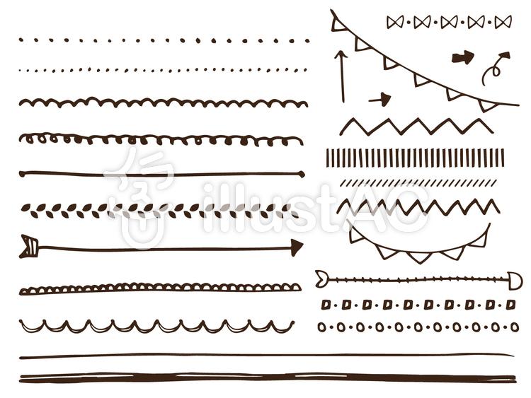 手書きラフで可愛いラインセットイラスト No 655180無料イラスト