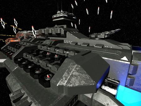 戦闘中の宇宙戦艦