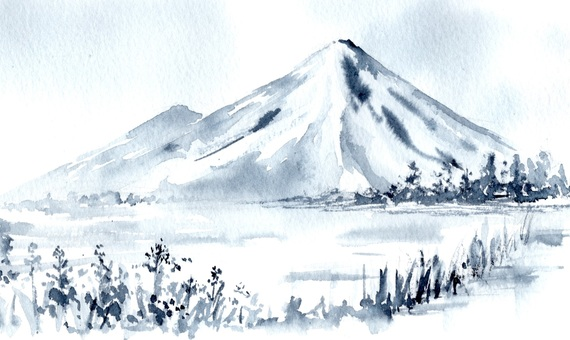 Mountain landscape ink ink style