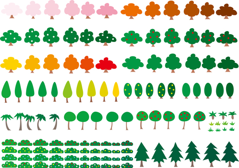 Scenery Set of various trees