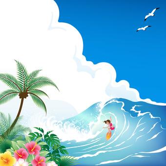 남국의 푸른 바다에서 서핑을하는 여성
