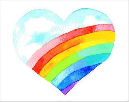 Blue sky and rainbow in the heart