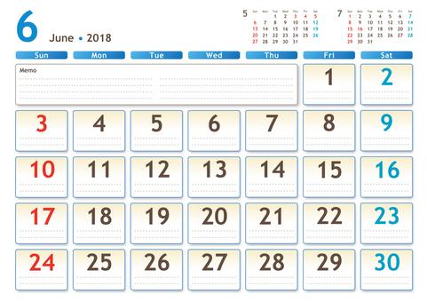 2018年カレンダー 6月