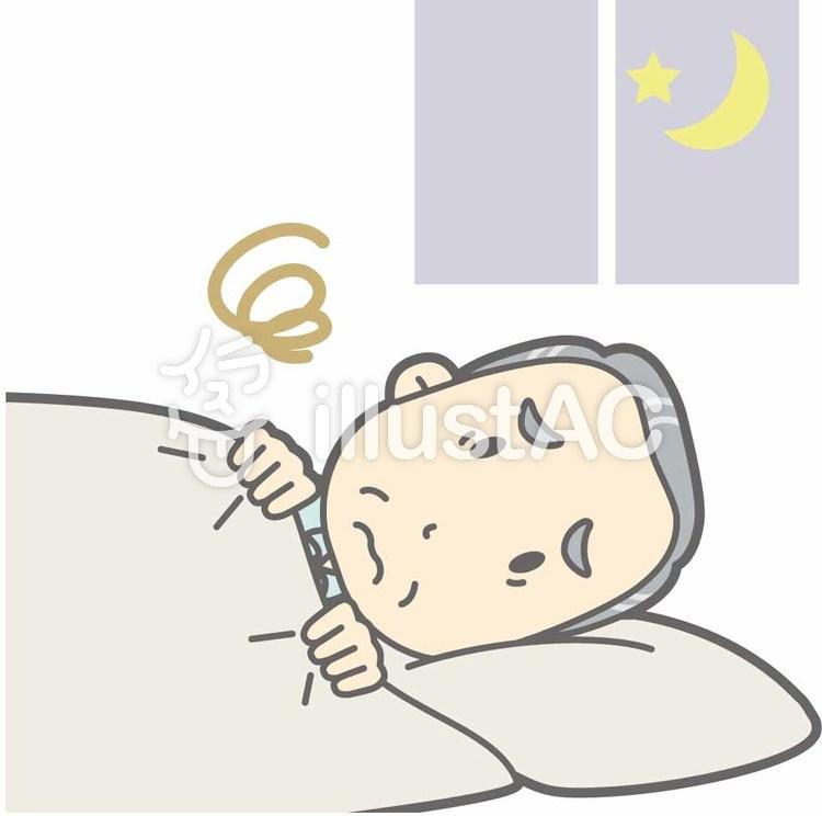 老人男性d-不眠-全身のイラスト