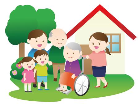 Tekerlekli sandalye büyükanne ve ailesi
