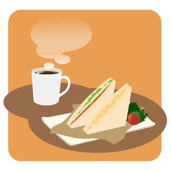 Coffee and sandwich set: orange