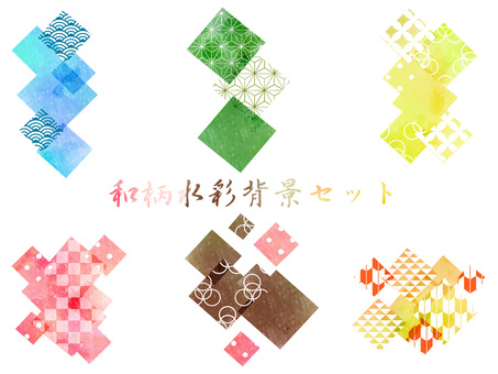 Japanese pattern water color background set ver 04