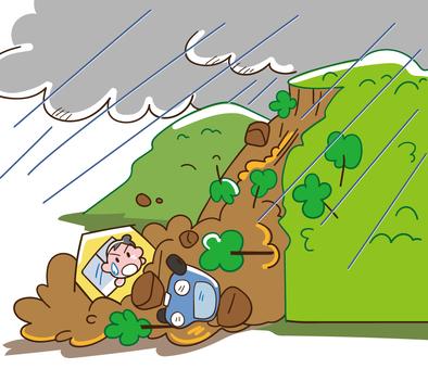 Get caught in a debris flow