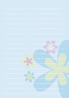레터 용지 세로 파란색 꽃