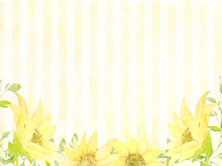 Watercolor hand-painted sunflowers and stripes yellow background