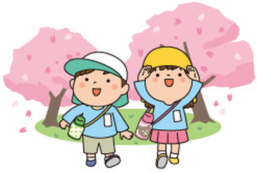 Cherry blossoms and kindergarten children