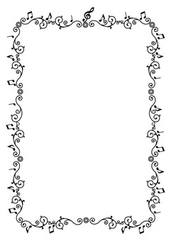 Musical note frame black