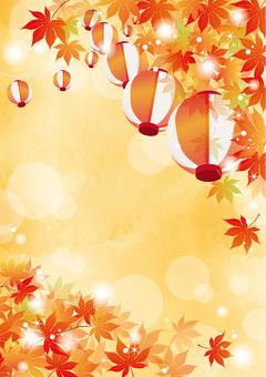Autumn Festival Lantern and Autumn Leaves Vertical 1