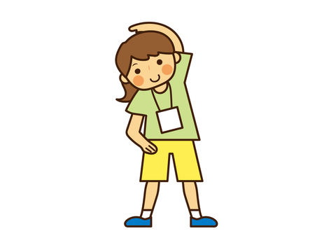 ラジオ体操をする女の子