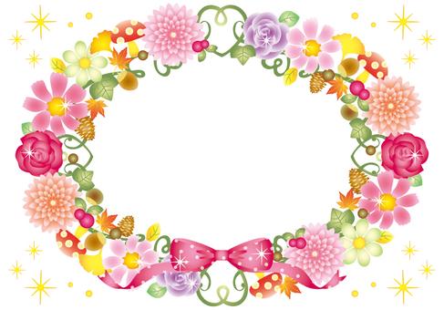 Autumn flower frame (solid white)