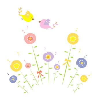 꽃과 작은 새 2