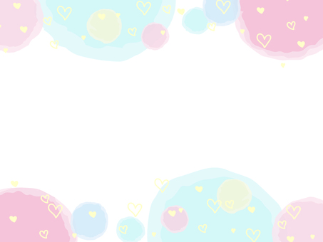 Watercolor polka dot & heart pattern frame