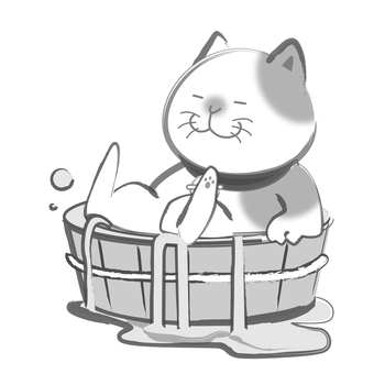 Sumi cats - row water