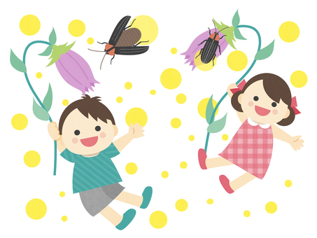 Illustration of summer _ firefly _ children _ appreciation party