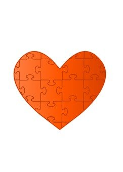 Heart puzzle (orange)