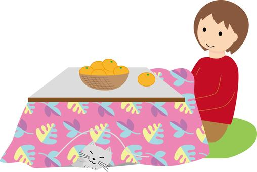 A woman and a cat relaxing in a kotatsu