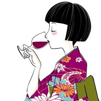 A woman drinking wine