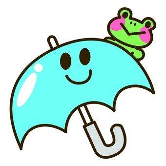 Rainy season - umbrella and frog