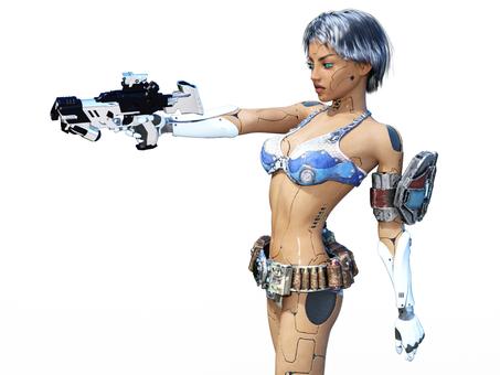 銃を構える女性アンドロイド